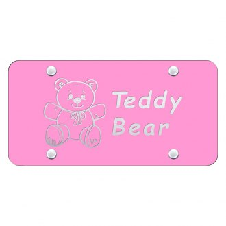 Autogold® - Pink License Plate with Laser Etched Teddy Bear Logo