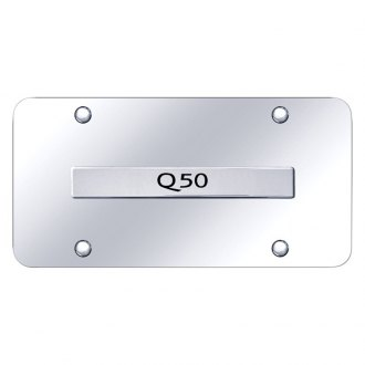 Autogold® - Chrome License Plate with Chrome Q50 Logo