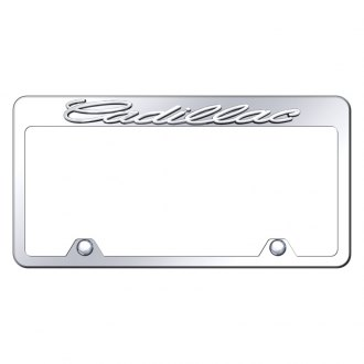 Autogold® - Reversed Chrome License Plate Frame with 3D Cadillac Logo
