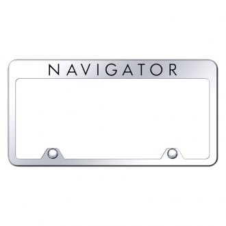 Autogold® - Inverted Chrome License Plate Frame with Engraved Navigator Logo