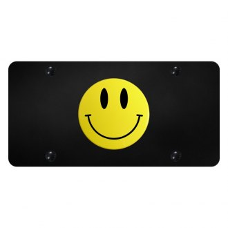 Autogold® - License Plate with 3D Yellow Smile Face Logo