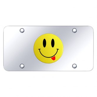 Autogold® - Chrome License Plate with 3D Yellow Smile Face Logo with Tongue