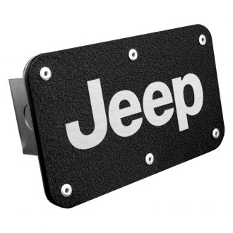 "Autogold® - Black Laser Etched Hitch Cover with Jeep Logo for 2"" Receivers"