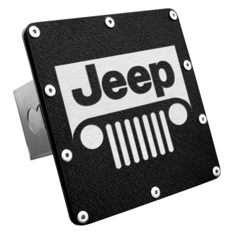 "Autogold® - Black Laser Etched Hitch Cover with Jeep Grill Logo for 2"" Receivers"