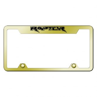 Autogold® - Truck Gold License Plate Frame with Laser Etched Raptor Logo