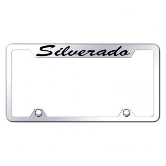 Autogold® - Truck Chrome License Plate Frame with Script Laser Etched Silverado Logo