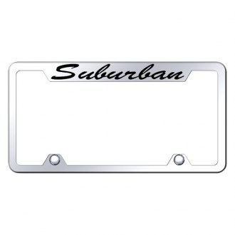 Autogold® - Truck Chrome License Plate Frame with Script Laser Etched Suburban Logo