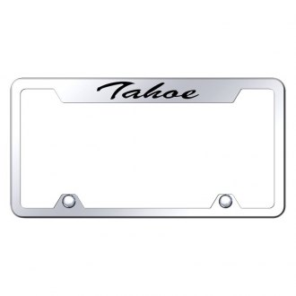 Autogold® - Truck Chrome License Plate Frame with Script Laser Etched Tahoe Logo