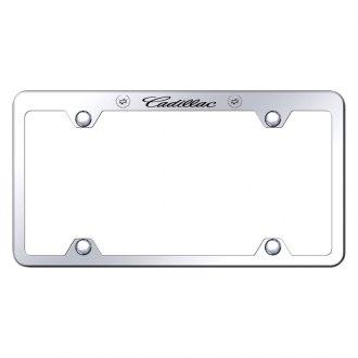 Autogold® - Wide Body License Plate Frame with Laser Etched Cadillac Logo and Dual Emblem