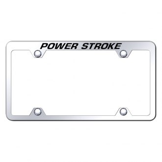 Autogold® - Wide Body Chrome License Plate Frame with Laser Etched Power Stroke Truck Logo