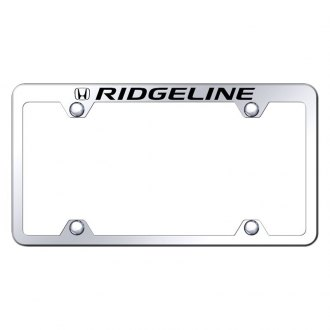 Autogold® - Wide Body Chrome License Plate Frame with Laser Etched Ridgeline Truck Logo