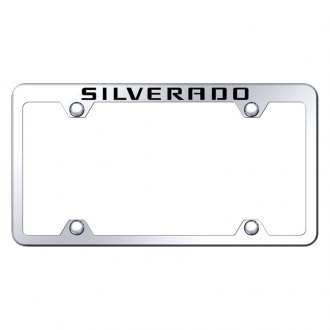 Autogold® - Wide Body Chrome License Plate Frame with Laser Etched Silverado Truck Logo