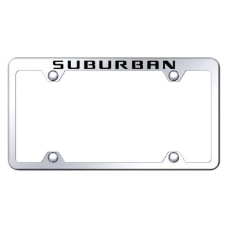 Autogold® - Wide Body Chrome License Plate Frame with Laser Etched Suburban Truck Logo