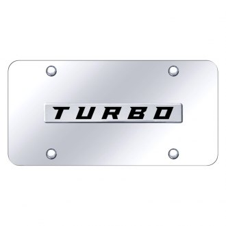 Autogold® - Chrome License Plate with Chrome Turbo Logo