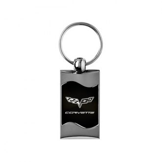 Autogold® - Corvette C6 Rectangular Wave Black Key Chain