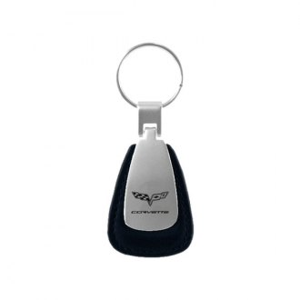 Autogold® - Corvette C6 Black Leather Teardrop Key Chain