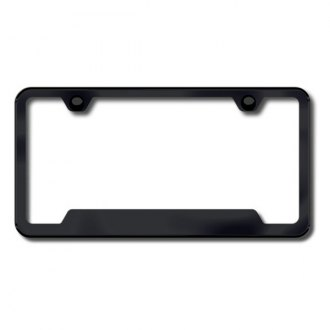 Autogold® - Plain 2-Hole Black Powder Coated License Frame with Cut-Outs