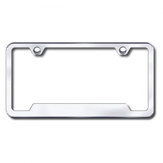Autogold® - Plain 2-Hole Chrome License Frame with Cut-Outs
