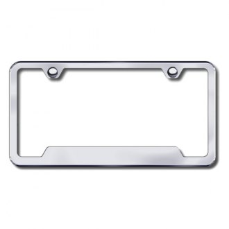Autogold® - Plain 2-Hole Brushed Stainless Frame with Cut-Outs