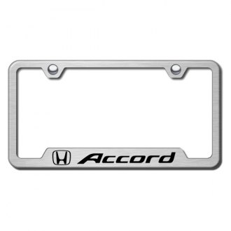 Autogold® - Premier Collection Brushed Stainless Steel License Frame Semi Universal