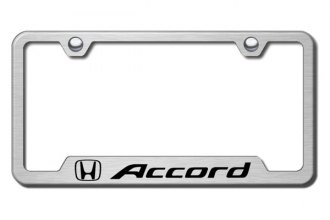 Autogold® - Accord Logo on Brushed Stainless License Plate Frame with Cut-Outs