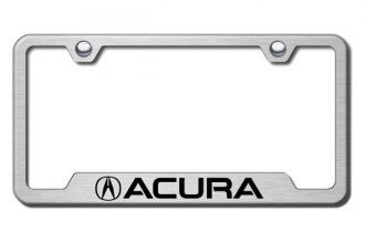 Autogold® - Acura Logo on Brushed Stainless Laser Etched License Plate Frame