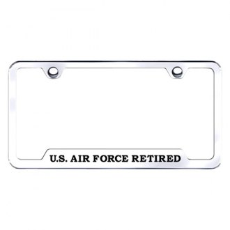 Autogold® - US Air Force Laser Etched Logo on Stainless Steel License Frame with Cut-Outs
