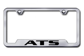 Autogold® - ATS Logo on Brushed Stainless License Plate Frame with Cut-Outs