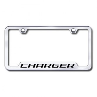 Autogold® - Charger Laser Etched Logo on Chrome Frame with Cut-Outs