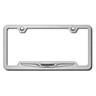 Autogold® - Chrysler Laser Etched Logo on Brushed Stainless License Frame with Cut-Outs