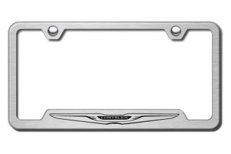 Autogold® - Chrysler Logo on Brushed Stainless License Plate Frame