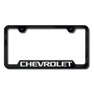 Autogold® - Chevy Laser Etched Logo on Black Frame with Cut-Outs