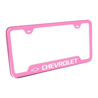Autogold® - Chevrolet Laser Etched Logo on Pink License Frame with Cut-Outs
