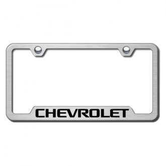 Autogold® - Chevrolet Laser Etched Logo on Brushed Stainless License Frame with Cut-Outs