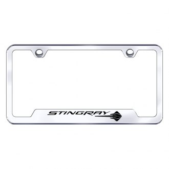 Autogold® - Chrome License Plate Frame with Laser Etched Corvette C7 Stringay Logo and Cut-Outs