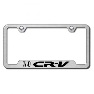 Autogold® - CR-V Laser Etched Logo on Brushed Stainless License Frame with Cut-Outs