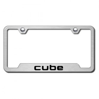 Autogold® - Cube Laser Etched Logo on Brushed Stainless Frame with Cut-Outs