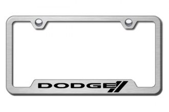 Autogold® - Dodge Stripes Logo on Brushed Stainless License Plate Frame