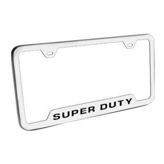 Autogold® - Super Duty Logo on Brushed Stainless License Plate Frame