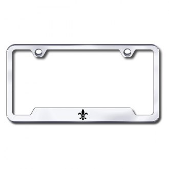 Autogold® - Fleur-De-Lis Laser Etched Logo on Chrome Frame with Cut-Outs