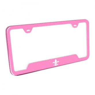 Autogold® - Fleur-De-Lis Laser Etched Logo on Pink License Frame with Cut-Outs