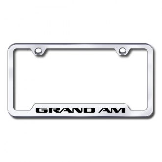 Autogold® - Grand Am Laser Etched Logo on Chrome License Frame with Cut-Outs