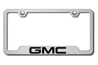 Autogold® - GMC Logo on Brushed Stainless License Plate Frame