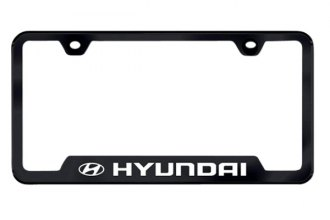 Autogold® - Hyundai Logo on Black License Plate Frame
