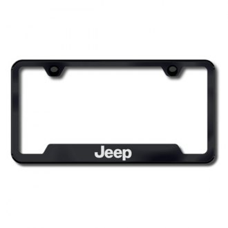 Autogold® - Jeep Laser Etched Logo on Black Frame with Cut-Outs