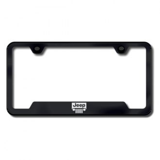 Autogold® - Jeep Grille Laser Etched Logo on Black License Frame with Cut-Outs