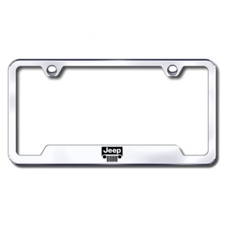 Autogold® - Jeep Grille Laser Etched Logo on Chrome License Frame with Cut-Outs
