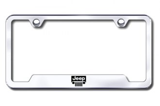 Autogold® - Jeep Grille Logo on Chrome License Plate Frame