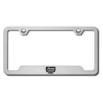Autogold® - Jeep Laser Etched Logo on Brushed Stainless License Frame with Cut-Outs