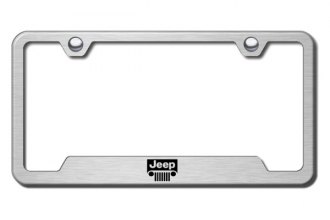 Autogold® - Jeep Logo on Brushed Stainless License Plate Frame